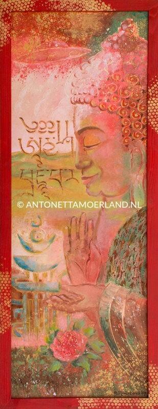 Boeddha schilderij - Almachtige tien, Boeddha in rood