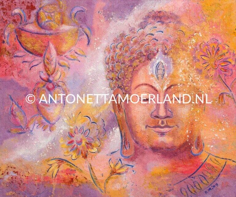 Boeddha schilderij - Bloemen Boeddha