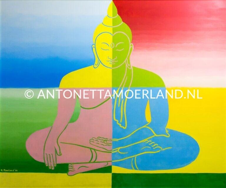 Boeddha schilderij - Gekleurde Boeddha in 4 vlakken