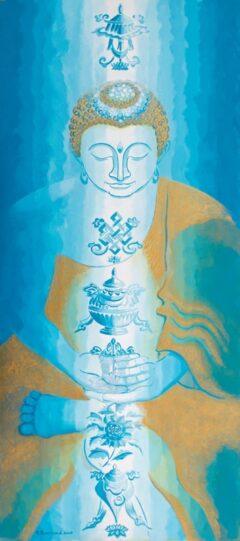 Boeddha schilderij - Gelukbrengende Tibet symboliek
