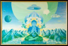 Boeddha schilderij - Himalaya blauw groen, vogels