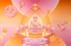 Boeddha schilderij - Intuitieve Boeddha paars, oranje