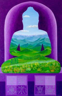 Boeddha schilderij - Landschap in Boeddha groenpaars