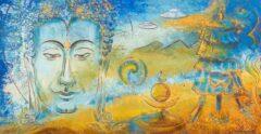 Boeddha schilderij - Landschap met parasol