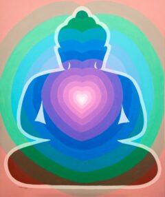 Boeddha schilderij - Moderne Boeddha met rose hart