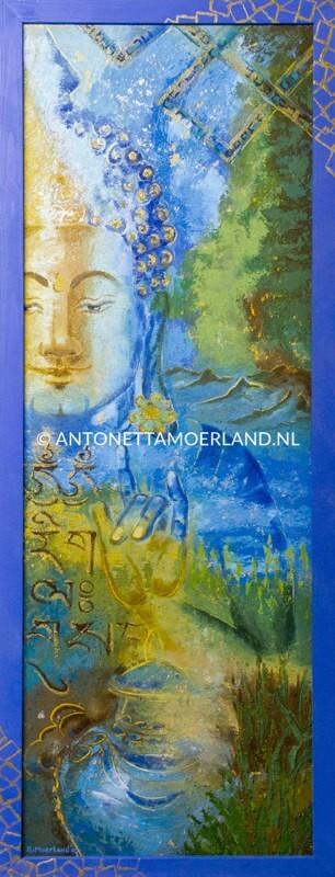 Boeddha schilderij - Mudra: uitdrijven van demonen