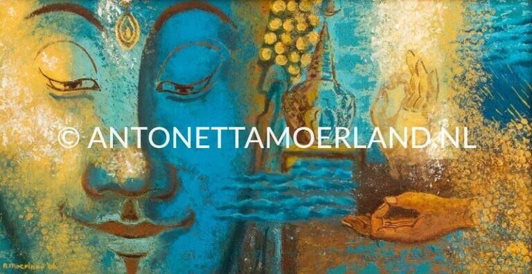 Boeddha schilderij - Mudra's in blauw