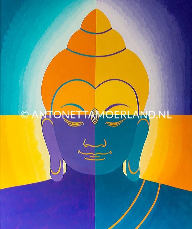 Boeddha schilderij - Paars, groene, oranje Boeddha