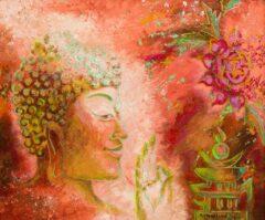 Boeddha schilderij - Rode Boeddha almachtige tien