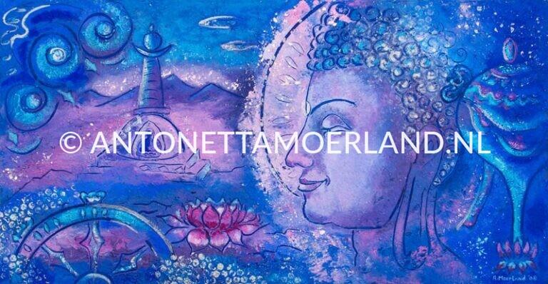 Boeddha schilderij - Stupa, lotus donkerblauw
