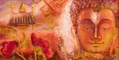 Boeddha schilderij - Tempel, eeuwige knoop, bloem