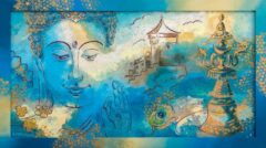 Boeddha schilderij - Tibet symboliek pauwenveer