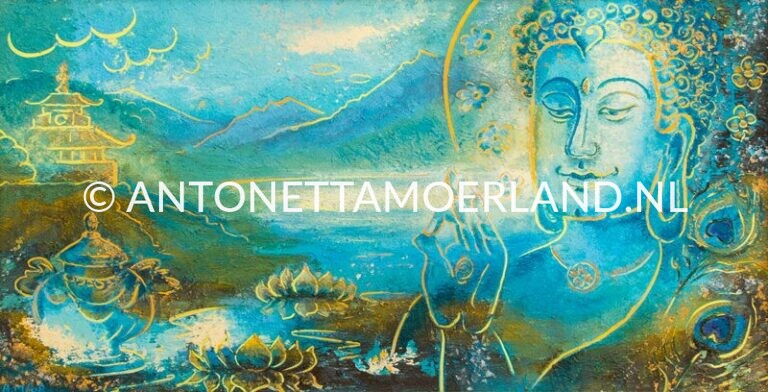 Boeddha schilderij - Tibet tempel, vaas, landschap met meer