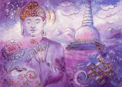 Boeddha schilderij - Tibetaanse Boeddha met stupa