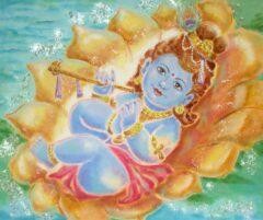 Hindoe schilderij - baby Shri Krishna