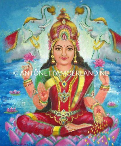 Hindoe schilderij - Godin Lakshmi met olifanten (groen en rood)