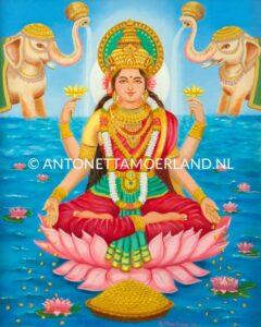 Hindoe schilderij - Godin Laksmi met olifanten