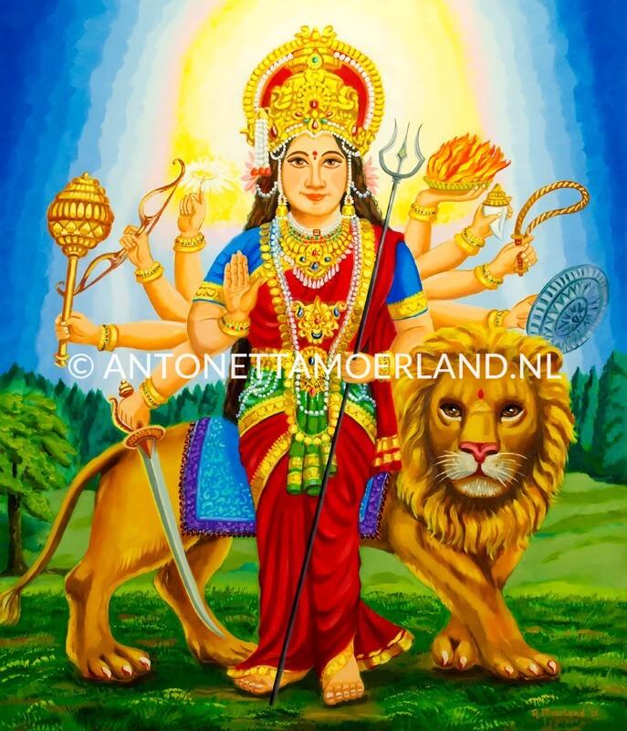 Hindoe schilderij - Godin Mata Durga