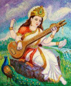 Hindoe schilderij - Godin Saraswati