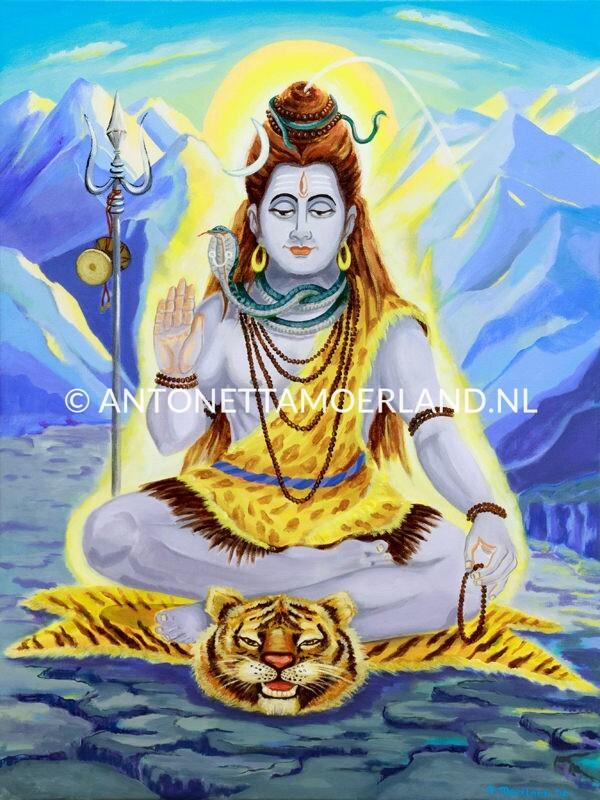 Hindoe schilderij - Lord Shiva op een tijgervel