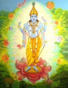Hindoe schilderij - Lord Vishnu in een lotus met bloemen