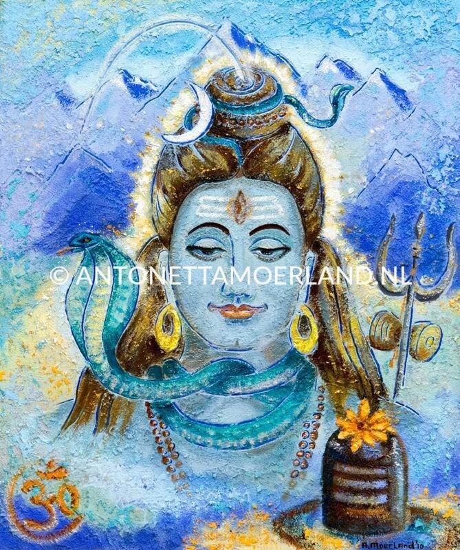 Hindoe schilderij - portret van Lord Shiva