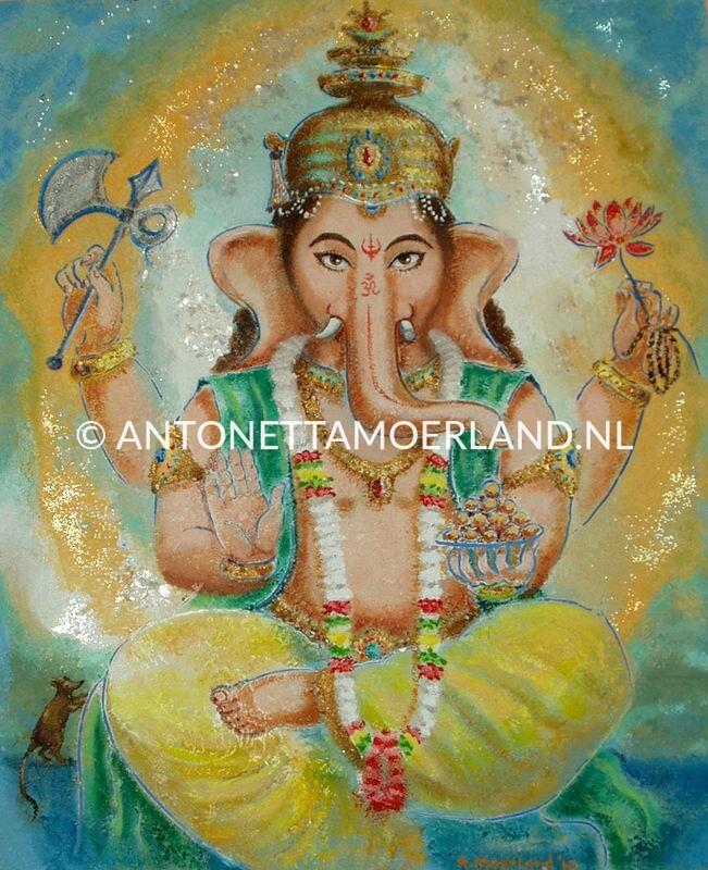 Hindoe schilderij - Shri Ganesha (geel en groen)