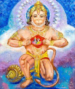 Hindoe schilderij - Shri Hanuman (met Shri Rama en Godin Sita)
