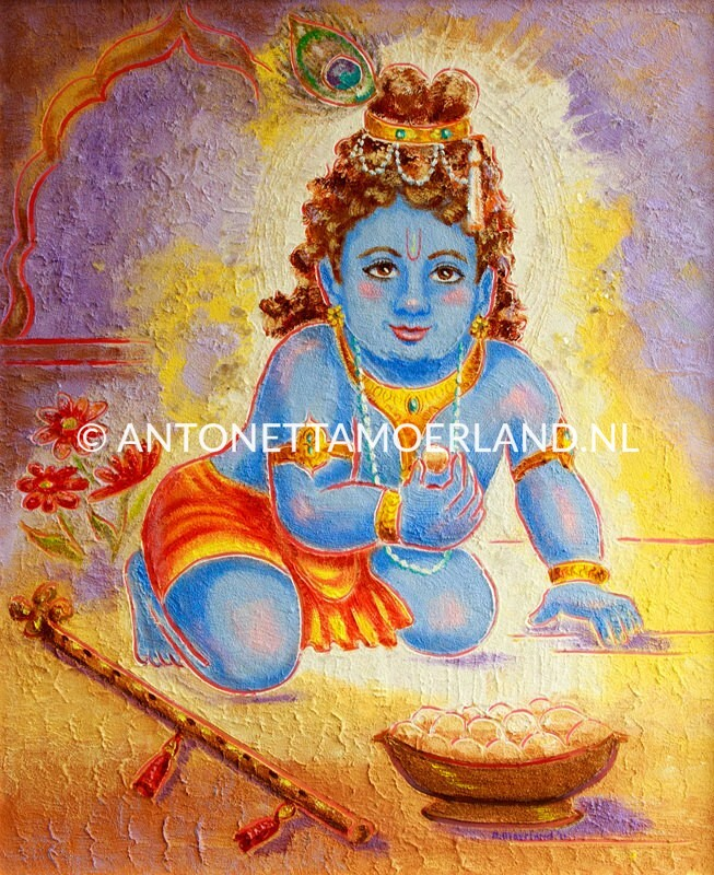Hindoe schilderij - Shri Krishna als kleuter met ladooballetjes