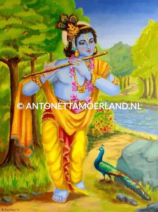 Hindoe schilderij - Shri Krishna met een fluit en pauw