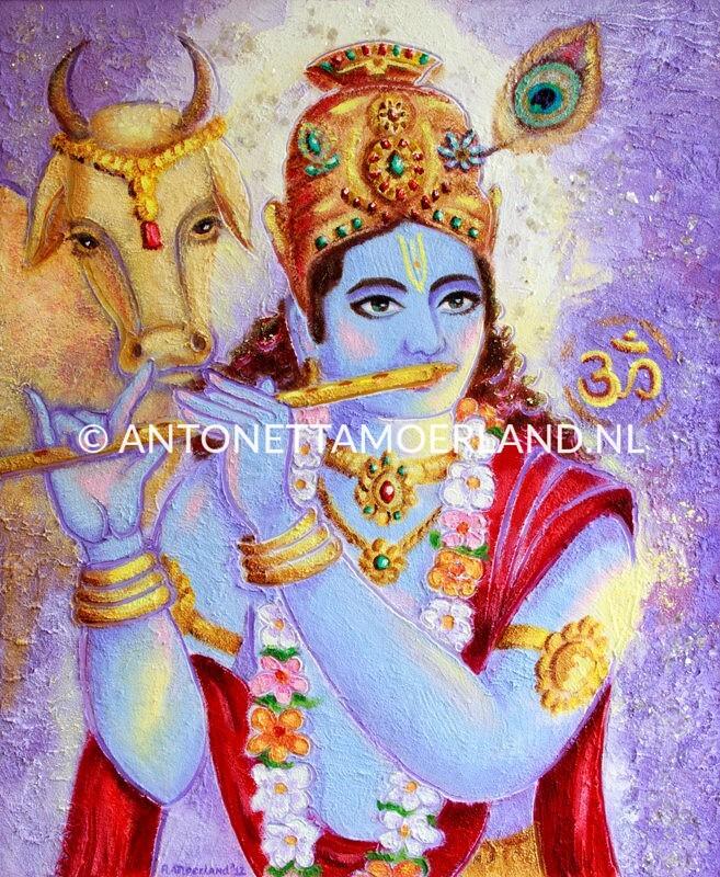 Hindoe schilderij - Shri Krishna met fluit en stier Nandi