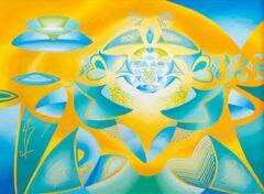 Intuïtief schilderij - Abstract geel groen