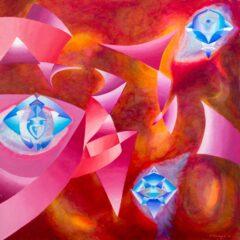 Intuïtief schilderij - Asymmetrisch, oranje blauw