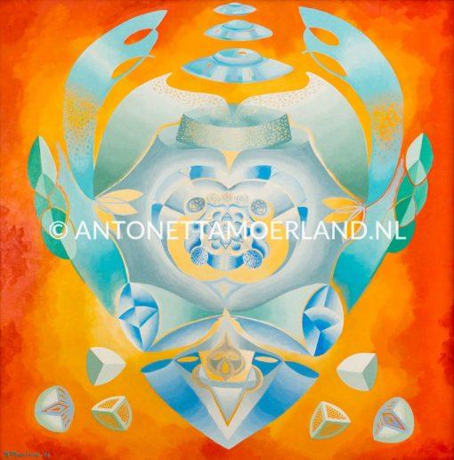 Intuïtief schilderij - Blauw groen oranje ufo figuur