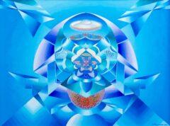 Intuïtief schilderij - Blauw met zilver symmetrisch
