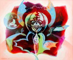 Intuïtief schilderij - Boeddha vogels ufo in rood