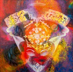 Intuïtief schilderij - Cosmic face