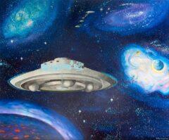 Intuïtief schilderij - Ergens in de kosmos III, ufo's