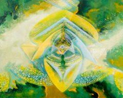 Intuïtief schilderij - Goud/groen symmetrisch figuur
