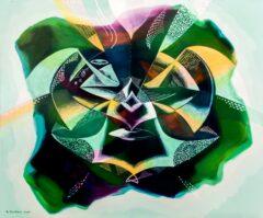 Intuïtief schilderij - Groene ufo's