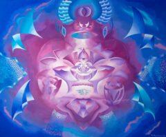 Intuïtief schilderij - Het alziend oog,paars blauw