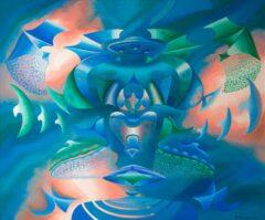 Intuïtief schilderij - Kosmisch in groen blauw