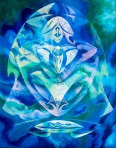 Intuïtief schilderij - Kosmische ufo met gezicht