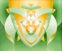 Intuïtief schilderij - Recycled, symmetrisch, groen
