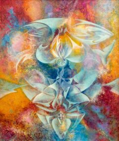 Intuïtief schilderij - Symmetrisch blauw
