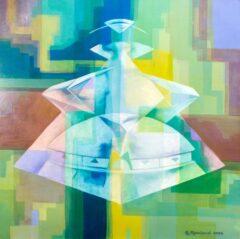 Intuïtief schilderij - Symmetrisch zwevend gebouw