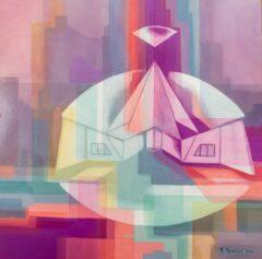 Intuïtief schilderij - Tempel zwevend