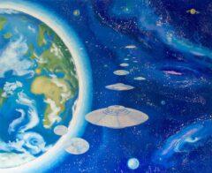 Intuïtief schilderij - Ufo, verkenners met moederschip