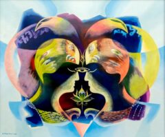 Intuïtief schilderij - Vogel gezichten