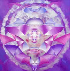 Intuïtief schilderij - Zilver, lila, ufo